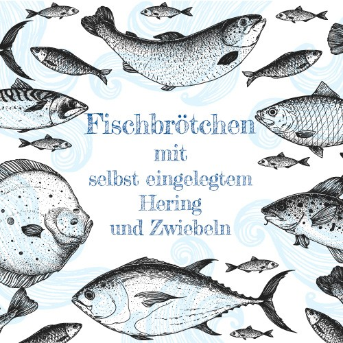 Fischbrötchen mit selbst eingelegtem Hering und eingelegten Zwiebeln